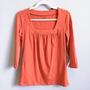 LOFT Orange 3/4 Sleeve Square Neckline Knit Top, S